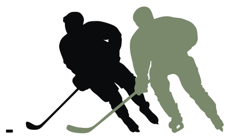 ice hockey player: Abstract vector illustration of hockey player silhouette