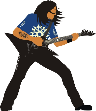 heavy: Heavy metal guitarist Illustration