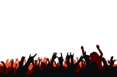 vector illustration crowd on concert Vetores