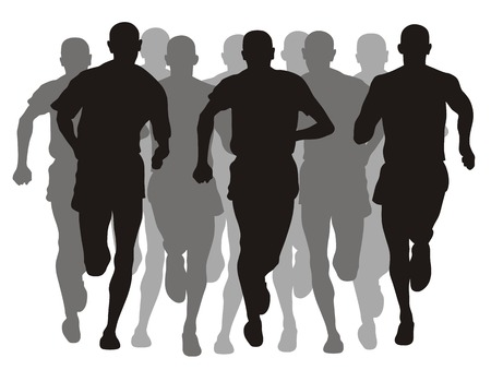 running silhouette: Abstract vector illustration of marathon event Illustration