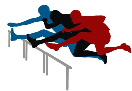 sports track: Abstract vector illustration of hurdle race Illustration