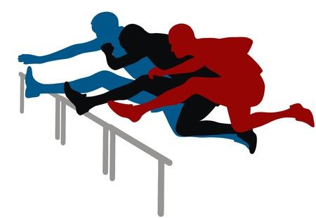 h�rde: Zusammenfassung von Vektor-Illustration H�rdenlauf