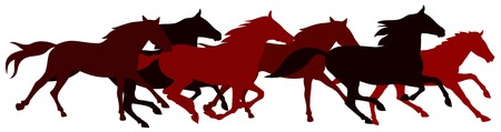 Abstract vector illustration of running horses