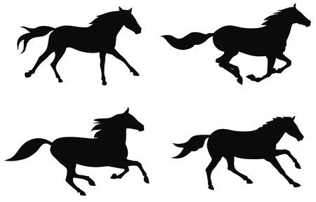 running silhouette: Abstract vector illustration of running horses