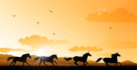 horses running: Abstract illustration of running horses