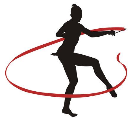 Abstract vecror illustration of rhythmic gymnastic