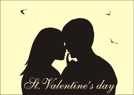 sentiment: Abstract vector illustration of Couple in love