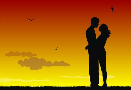 bridegrooms: Abstract vector illustration of Couple in love