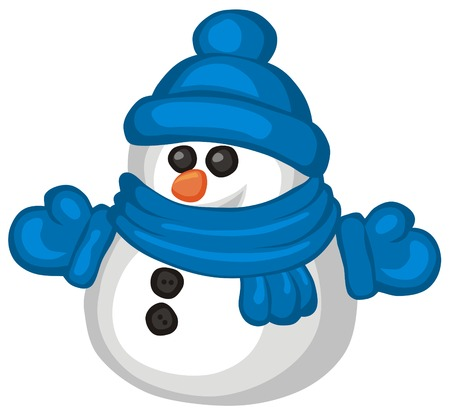 Vector illustration of funny snowman