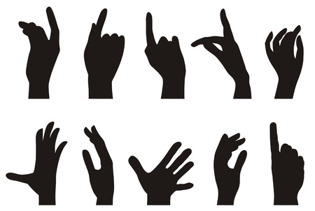 Vector illustration of hands silhouette