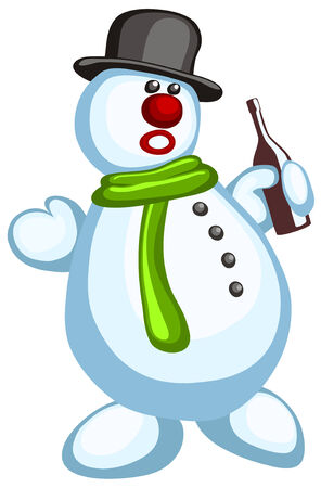 Vector illustration of funny snowman Vector