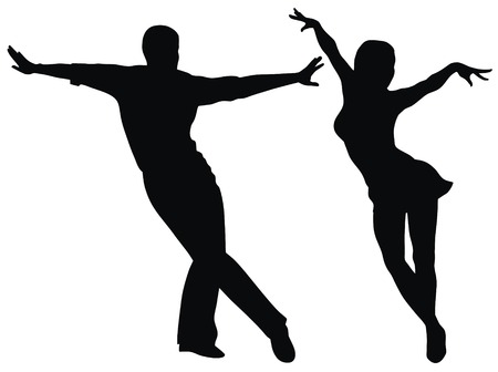 dancers silhouette: Abstract vector illustration of latin american dancers