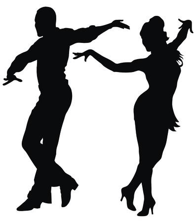 latin dance: Abstract vector illustratie van de Latijns-Amerikaanse dansers Stock Illustratie