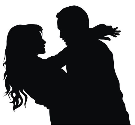 couple embrace: Abstract vector illustration of couple in love Stock Photo