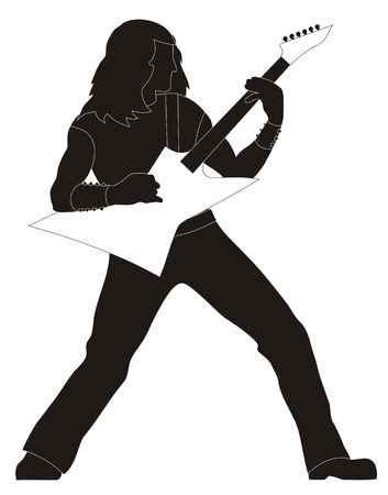 heavy: Abstract vector illustration of heavy metal guitarist