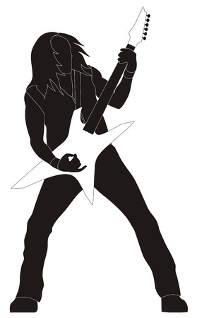 Abstract vector illustration of heavy metal guitarist