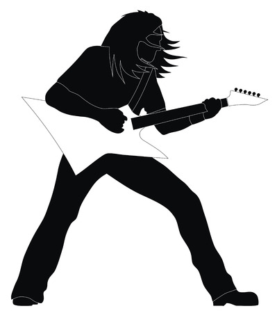 heavy metal music: Abstract illustrazione vettoriale di metalli pesanti chitarrista