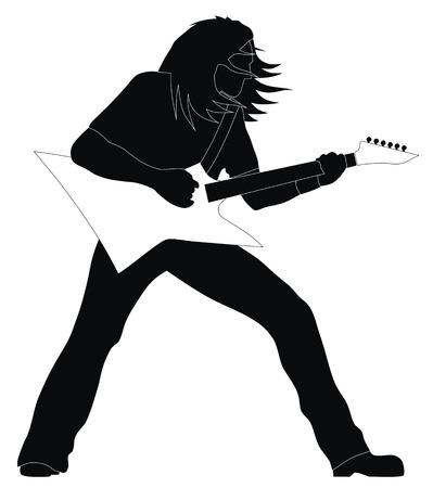 Abstract vector illustration of heavy metal guitarist Stock Vector - 4130516