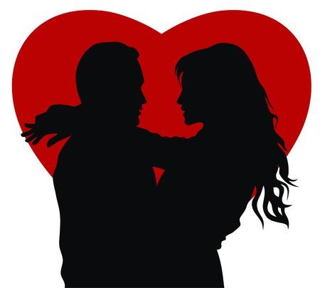 siluetas de enamorados: Resumen ilustraci�n vectorial de la joven en el amor
