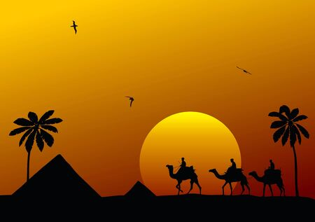 humped: Abstract illustration of camels and cameleers