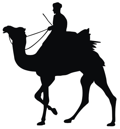 Abstract vector illustration of camel and cameleer