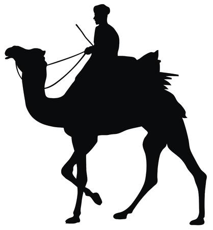 Abstract vector illustratie van kamelen en kameeldrijver Vector Illustratie