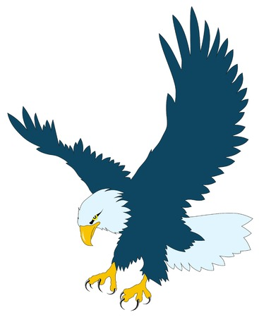 Color vector illustration of flying eagle