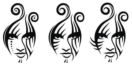 Trtibal face tattoo vaector illustration