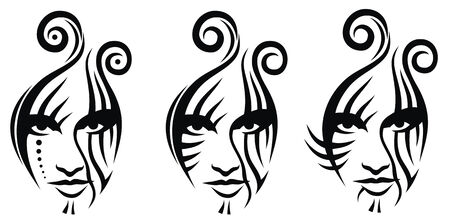 tatouage visage: Trtibal tatouage visage vaector illustration