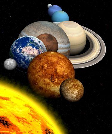 De planeten in het zonnestelsel
