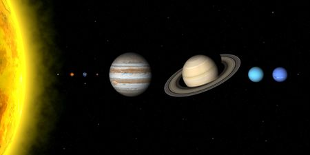 relative: The planets in solar system. Sizes are to scale, but relative distances sre not Stock Photo