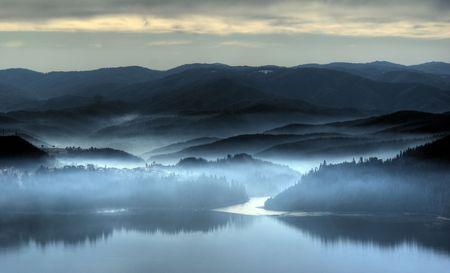 Mistige ochtend aan het einde van november Stockfoto