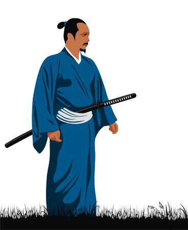 katana: Abstract vector illustration of samurai