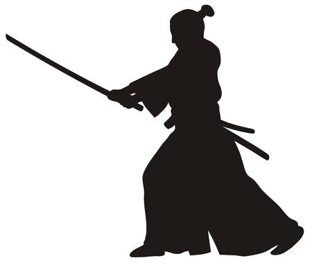 Abstract vector illustratie van de samoerai Vector Illustratie