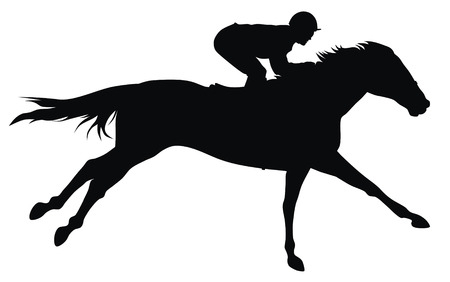 horse riding: Abstract vector illustration of horce and rider Illustration