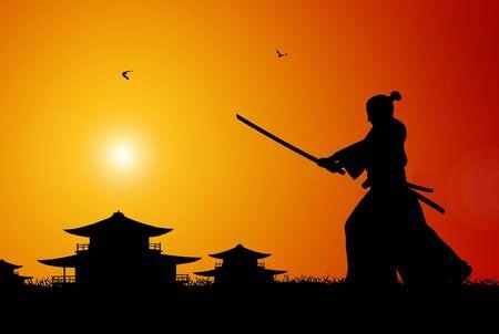 samoerai: Illustratie van de oude Japanse scene