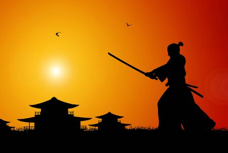 samurai: Ilustration of ancient japanese scene Stock Photo