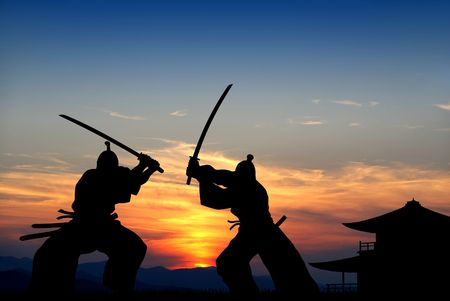 Silhouette illustration of samurai combat               Stock Illustration - 4506997