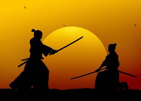samourai: Silhouette illustration de la lutte contre samoura�s Banque d'images