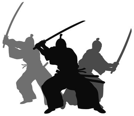 Silhouette illustration of samurai combat Stock Photo