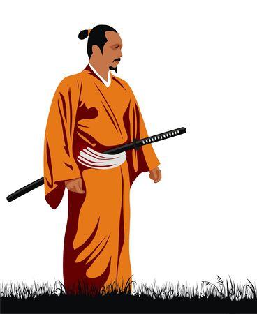 Abstract vector illustration of samurai