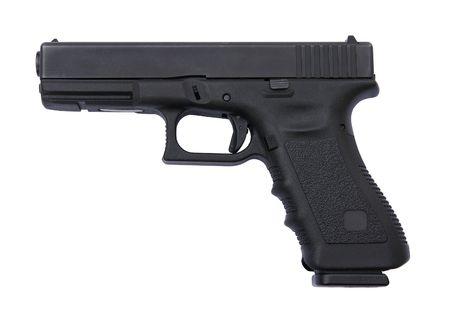glock: Police pistol isolated on white    Stock Photo