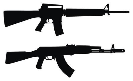 firearms: Ilustraci�n vectorial de submachines silueta (Alto detalle) Vectores