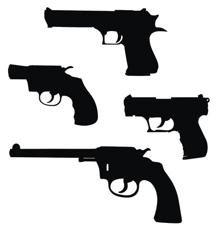 Vector illustration of pistols silhouettes (High detail)