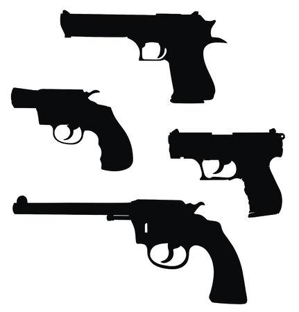 pistols: Vector illustration of pistols silhouettes (High detail)