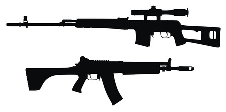 firearms: Vector illustration of guns silhouettes  (High detail)