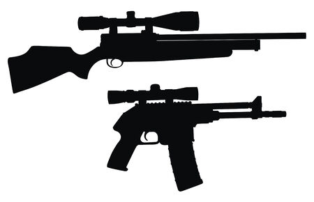 dangerous weapons: Vector illustration of sniper weapon silhouette  (High detail)