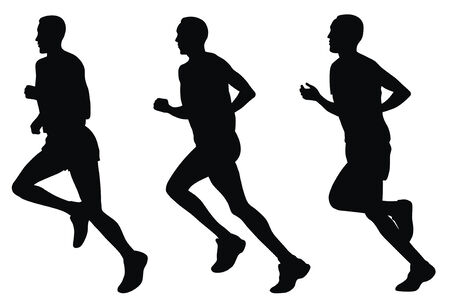 athletics track: Abstract vector illustration of marathon runners