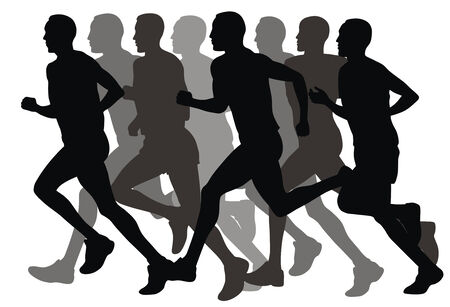Abstract vector illustration of marathon runners Vector