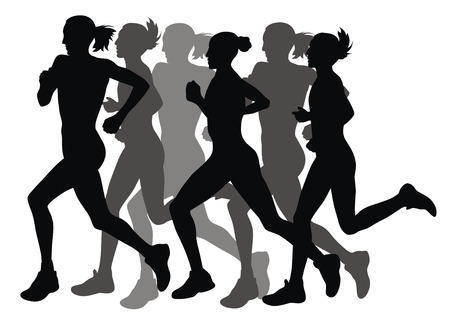 Abstract vector illustration of marathon runners